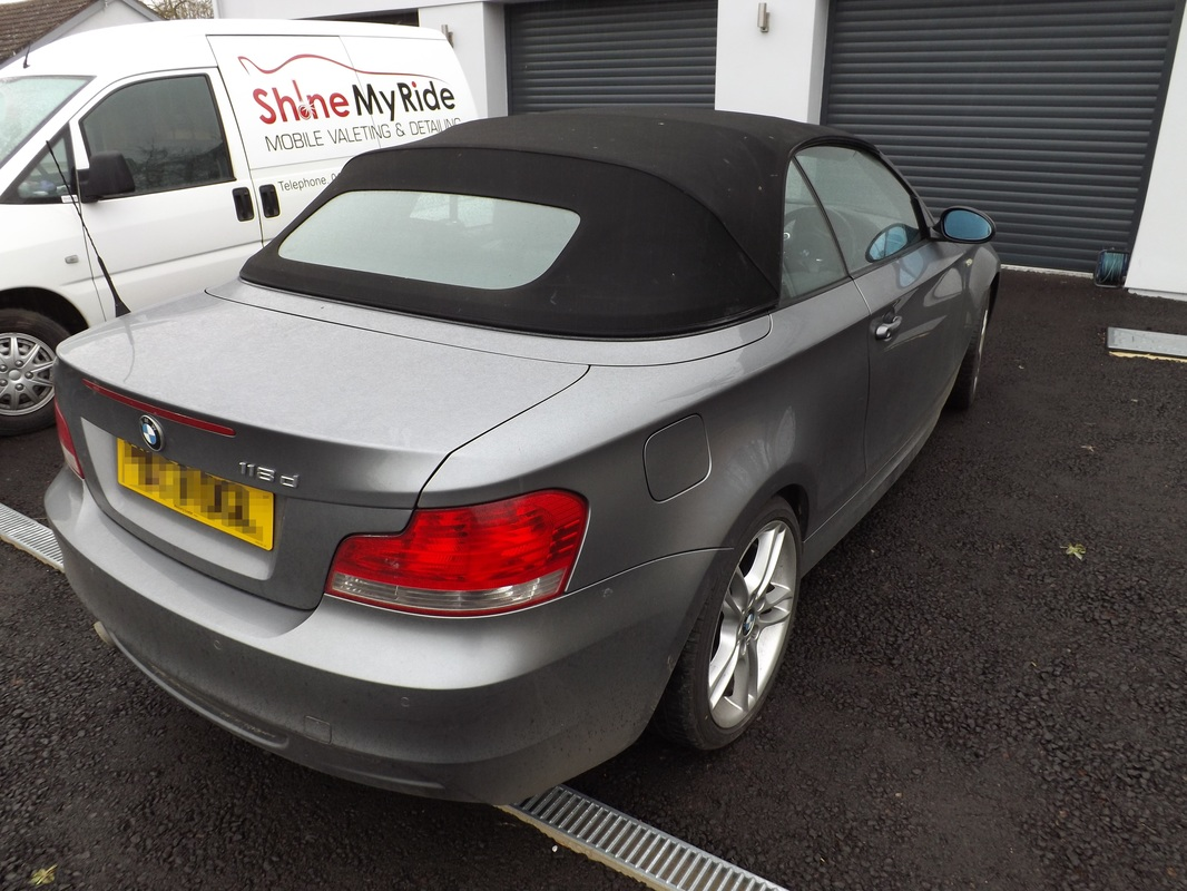 E88 BMW 118d Convertible before valeting near Wedmore, Somerset