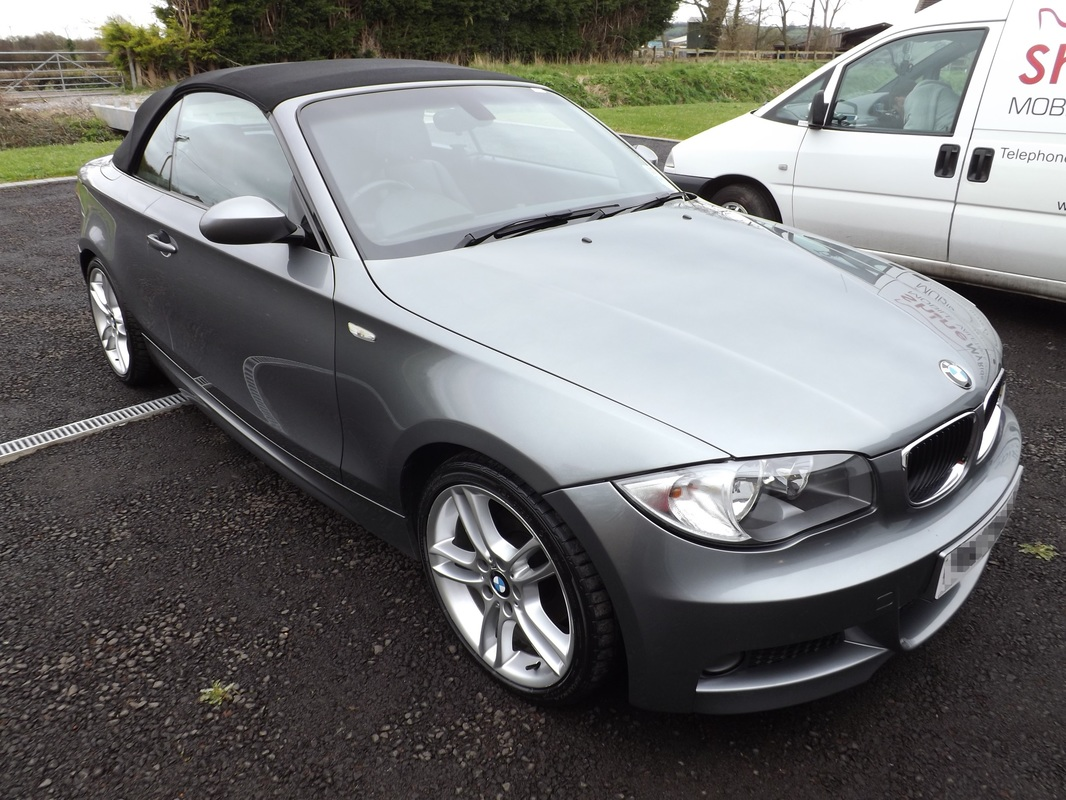 E88 BMW 118d Convertible after valeting near Wedmore, Somerset
